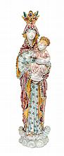 An Italian Ceramic Madonna and Child Sculpture Height 17 1/4 inches.