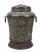 A Continental Hammered Copper Storage Jar Height 27 1/2 inches.