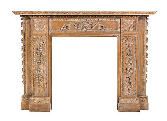lot 196 an english carved fireplace mantle height 48 3 4 x width 67