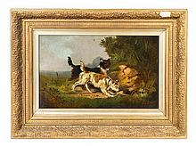 Alex Austin, (British, 19th Century), Two Dogs after a Hedgehog