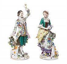 A Pair of Chelsea Porcelain Figures Height of taller 10 3/8 inches.