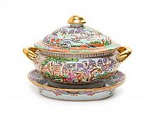 A Chinese Export Porcelain Soup Tureen and Undertray Width of tureen over handles 14 5/8 inches.