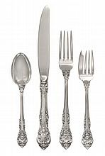 An American Silver Partial Flatware Service, Gorham Mfg. Co., Providence, RI, King Edward pattern, comprising: 5 lunch knives 5 lunch f