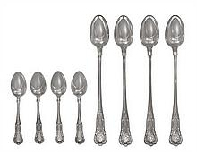 A Group of American Silver Flatware, Gorham Mfg. Co., Providence, RI, Kings pattern, comprising 6 iced tea spoons 10 coffee spoons