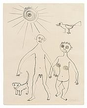 Alexander Calder, (American, 1898-1976), Ohne Titel (Nude Couple with Dog and Bird), 1946