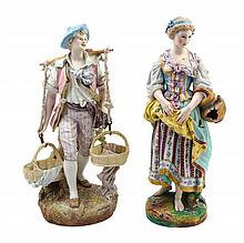 Two Continental Bisque Porcelain Figures Height of taller 25 3/4 inches.