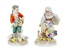 * Two Meissen Porcelain Figural Groups Height of taller 5 inches.