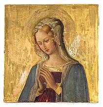 An Italian Painted Icon Height 12 1/4 x width 11 3/4 inches.
