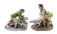 A Pair of Capodimonte Porcelain Figural Groups Height of taller 13 1/2 inches.