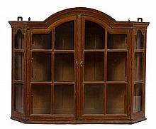 A Continental Oak Hanging Vitrine Cabinet Height 30 1/4 x width 39 x depth 8 inches.