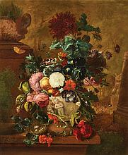 Justus van Huysum the Elder, (Dutch, 1659-1716), Still Life with Roses, Geraniums, and Morning Glories in a Classical Vase