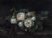 * John Laurents Jensen, (Danish, 1800-1856), Still Life with Cabbage Roses