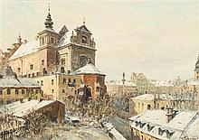 W.T. Chmielinsky, (Polish, 19th century), Rooftops in Winter