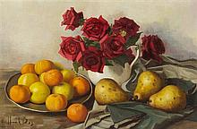 Henk Bos, (Dutch, 1901-1979), Still Life with Pears and Roses