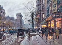 Edouard Leon Cortes, (French, 1882-1969), Paris Street Scene