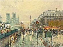 Jean Salabet, (French, 20th Century), Les bouquinistes de Notre Dame, 1957
