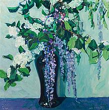 Jane Peterson, (American, 1876-1965), Lilacs and Hydrangeas in a Vase