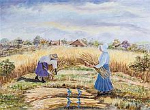 Rhoda Brady Stokes, (American 1902-1988), Mamma and the Straw Broom, 1978