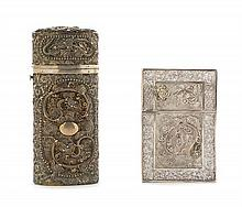 Two Chinese Silver Filigree Dragon Boxes 19TH CENTURY Height of taller 4 3/4 inches.