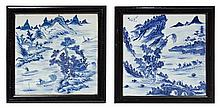 A Set of Four Chinese Blue and White Porcelain Tiles 19TH CENTURY Height of porcelain 10 1/2 inches square.