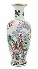A Chinese Famille Rose and Gilt Porcelain Vase 18TH/19TH CENTURY Height 23 1/2 x width 10 inches.