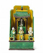 A Chinese Famille Verte Biscuit Porcelain Figural Group KANGXI PERIOD Height 9 3/4 inches.