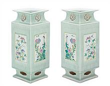 A Pair of Chinese Celadon and Famille Rose Porcelain Vases LATE QING DYNASTY, 19TH CENTURY Height 16 3/8 inches.