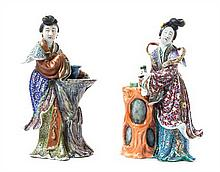 Two Chinese Export Famille Rose Porcelain Figures of Meirens LATE 19TH/EARLY 20TH CENTURY Height of taller 12 inches.