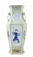 A Chinese Celadon, Blue and White Porcelain Vase 19TH CENTURY Height 16 1/8 inches.