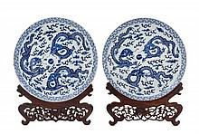 A Pair of Chinese Blue and White Porcelain Plates 19TH CENTURY Diameter 8 1/2 inches.