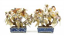 A Pair of Chinese Blue and White Porcelain Planters with Hardstone Flowers LATE 19TH/EARLY 20TH CENTURY