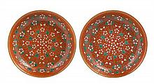 A Pair of Chinese Famille Rose Porcelain Shallow Bowls 19TH CENTURY Diameter 9 1/4 inches.