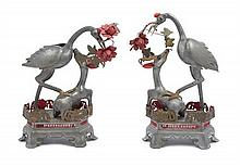 A Pair of Chinese Pewter Sculptures of Crane and Deer 19TH CENTURY Height of taller 14 inches.
