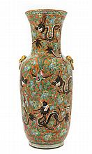 A Large Chinese Famille Rose Porcelain Vase 19TH CENTURY Height 23 7/8 inches.