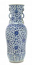A Large Chinese Blue and White Porcelain Vase LATE 18TH/19TH CENTURY Height 24 1/2 inches.