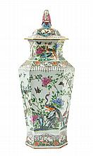 A Large Chinese Famille Rose Porcelain Covered Vase 19TH CENTURY Height 24 3/8 inches.