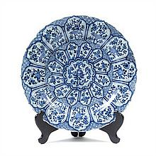 A Chinese Blue and White Porcelain Charger KANGXI PERIOD Diameter 15 3/8 inches.