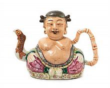 An Unusual Chinese Export Famille Rose Porcelain Happy Buddha Teapot LATE 18TH/EARLY 19TH CENTURY, POSSIBLY QIANLONG PERIOD