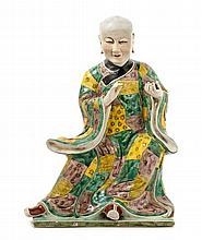 A Chinese Famille Verte Porcelain Figure of a Luohan 20TH CENTURY Height 15 1/2 inches.