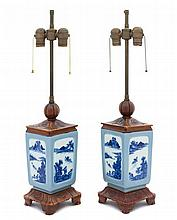 A Pair of Chinese Clair-de-Lune, Blue and White Porcelain Brush Pots 19TH CENTURY, POSSIBLY EARLIER Height overall 24 1/2 inches.