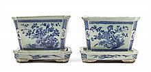 A Pair of Chinese Blue and White Porcelain Jardinieres with Underplates 20TH CENTURY OR EARLIER Length 9 1/2 x height 7 1/2 inches.