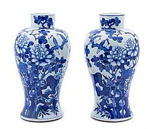 A Pair of Chinese Blue and White Porcelain Meiping Vases 19TH CENTURY Height 15 3/8 inches.