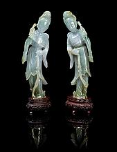 A Matched Pair of Chinese Jadeite Figures of Meirens LATE QING DYNASTY OR LATER Height 7 3/4 x width 2 1/4 inches (with stand).