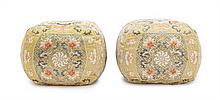 A Pair of Chinese Imperial Silk Arm Rest Pillows QING DYNASTY, 19TH CENTURY Height 7 1/4 x length 9 inches.