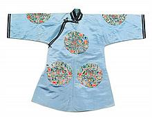 A Han Style Silk and Peacock Feather Embroidered Lady's Robe LATE QING DYNASTY Length 39 1/2 inches.