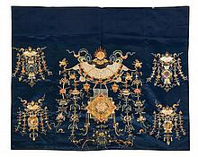 A Chinese Embroidered Blue Silk Panel LATE QING DYNASTY 32 1/2 X 38 1/2 inches.