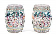 A Pair of Chinese Famille Rose Porcelain Garden Seats Height 19 inches.