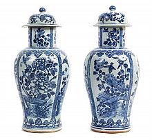 A Pair of Chinese Export Blue and White Porcelain Covered Vases 19TH CENTURY Height 18 1/2 inches.