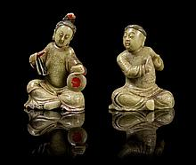 A Pair of Chinese Soapstone Figures 18TH/19TH CENTURY Height of taller 4 inches.