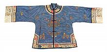A Chinese Silk Embroidered Jacket LATE QING DYNASTY Length 27 1/2 inches.